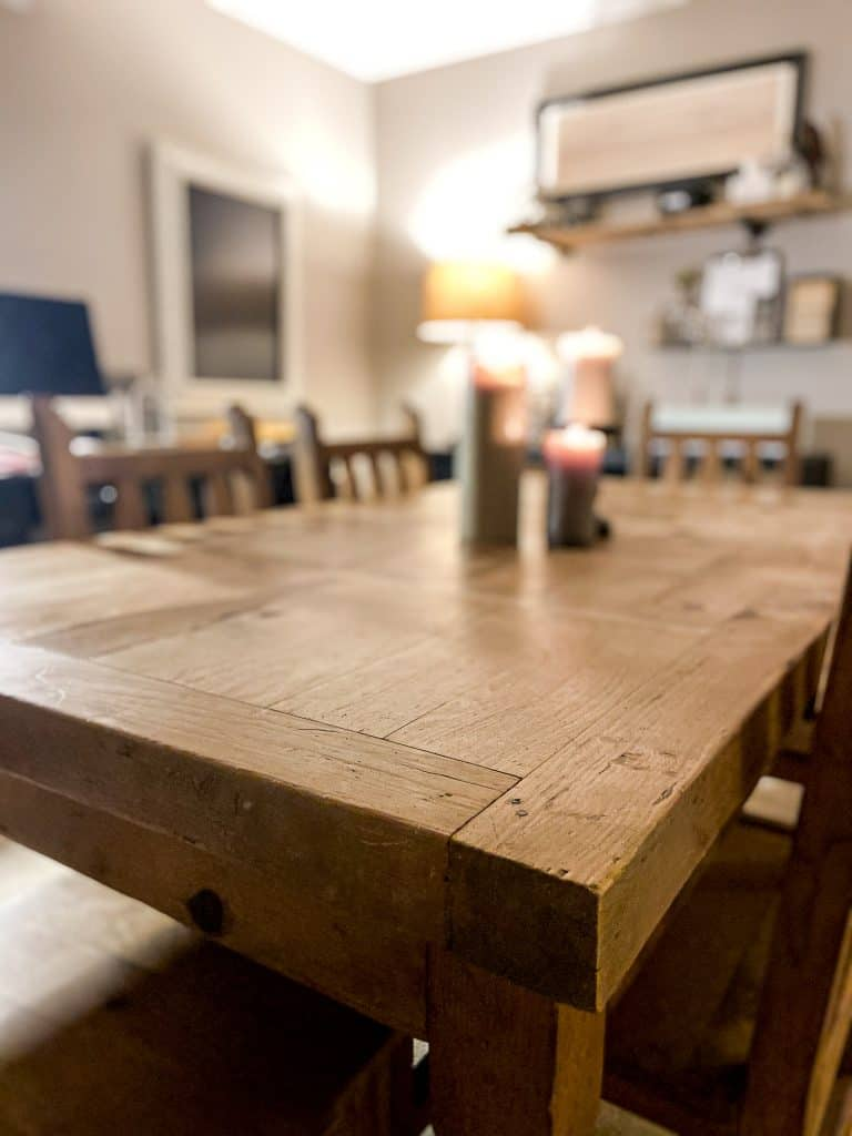 scrubbed pine crafting table in the basement