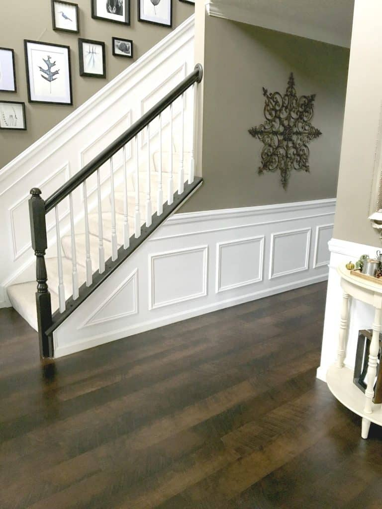 Wainscoting in hallway and up the stairs