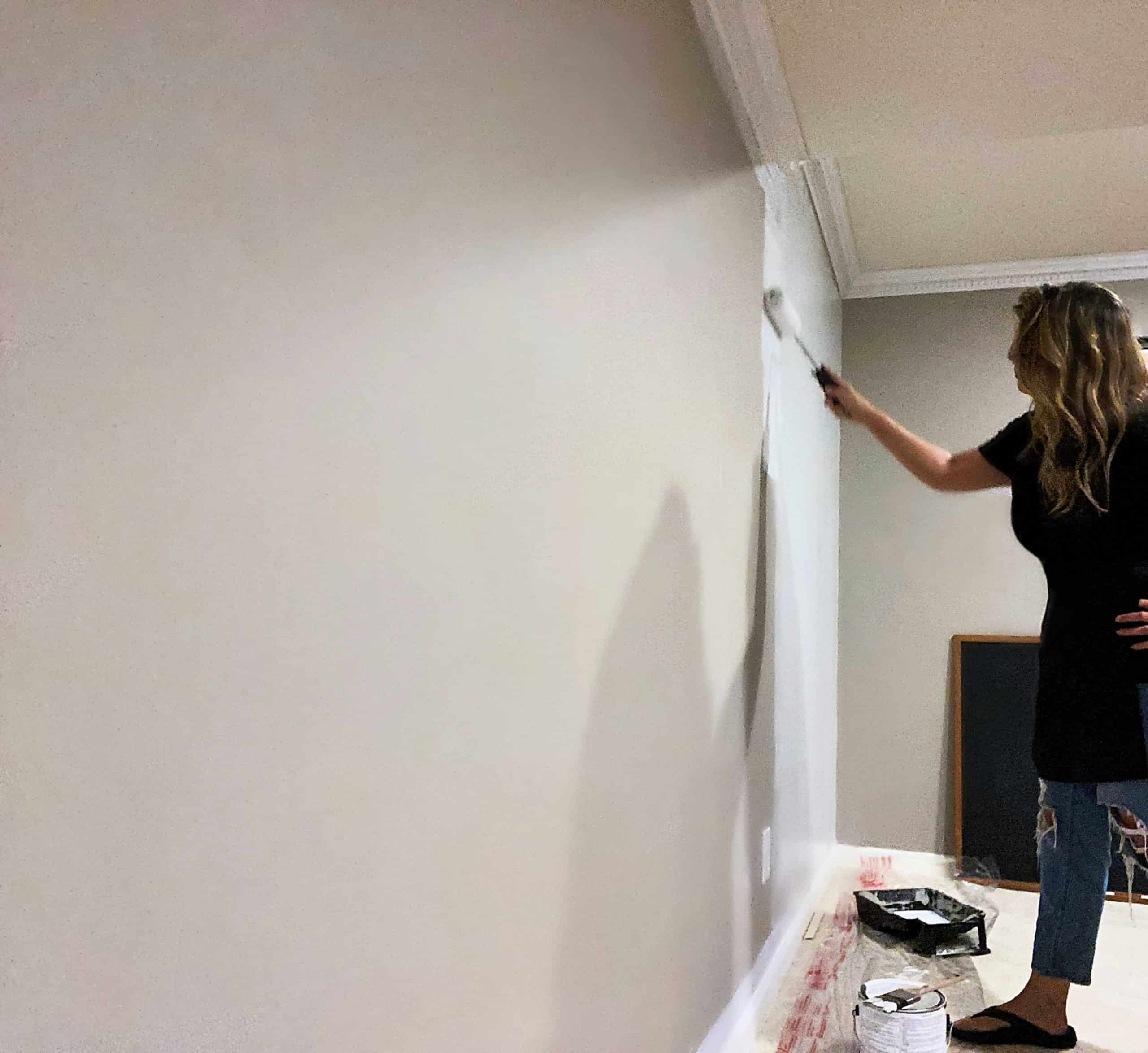 Accent Wall Ideas for Home Office Applying Primer in Basement