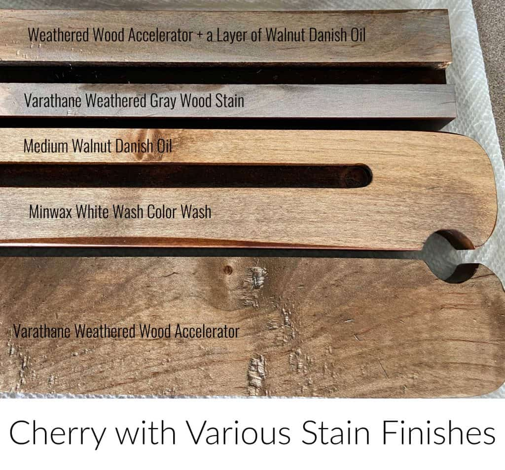 Cherry wood stain test with a variety of gray stains