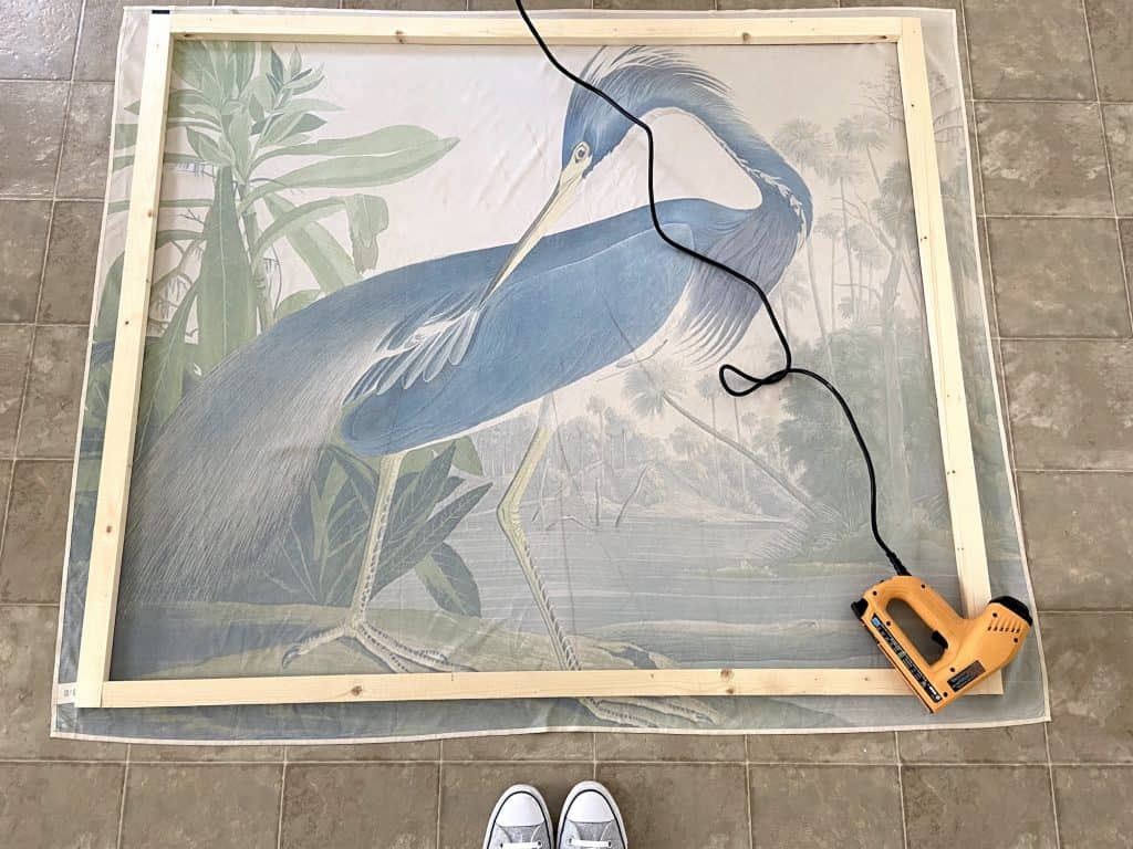 building frame for large scale wall art using a tapestry