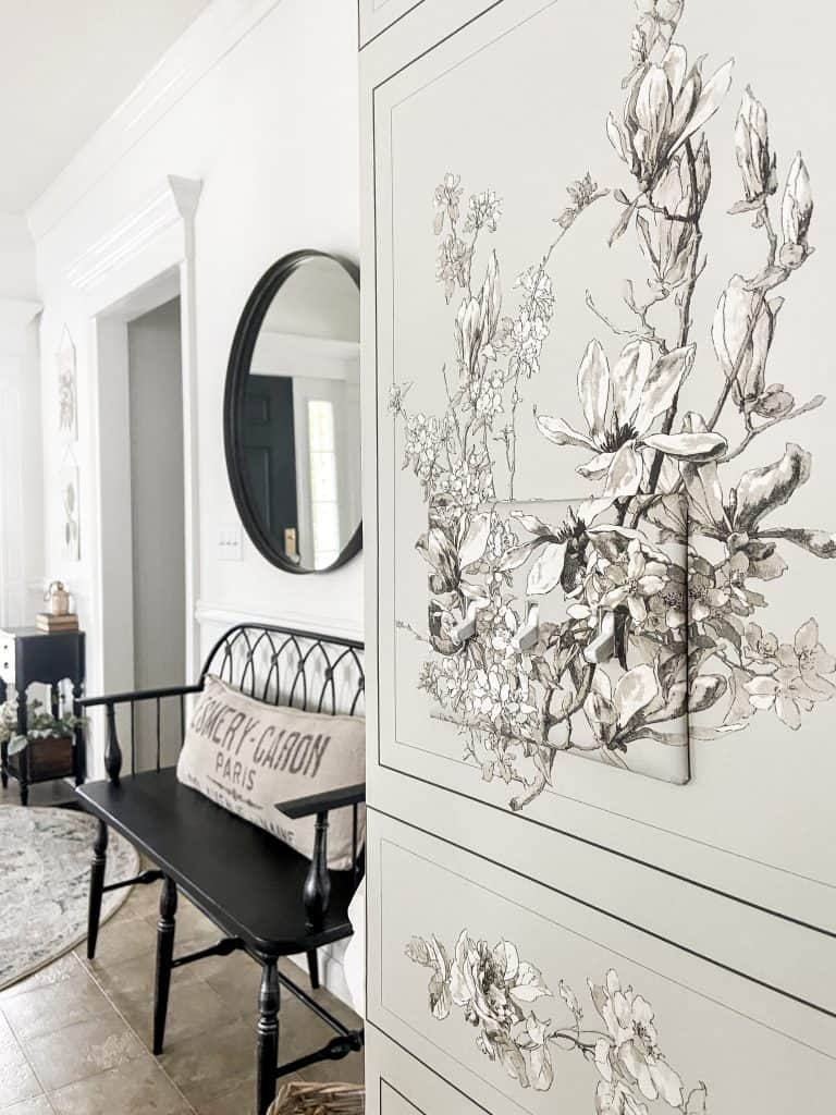 Stairwell Wall Makeover with Magnolia Wallpaper