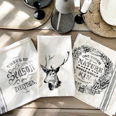 DIY Stenciled Vintage Tea Towels (Video!)