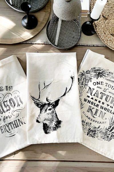 DIY vintage tea towels stenciled