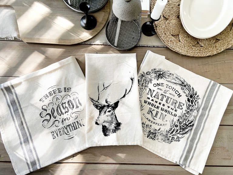 Stenciled Vintage Tea Towels