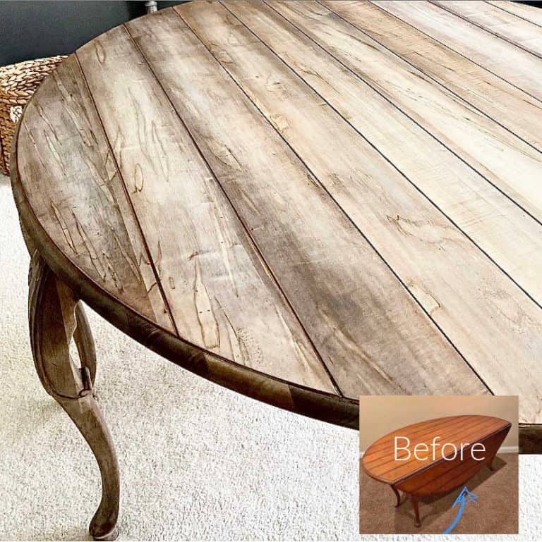Weathered Gray Cherry Table Makeover