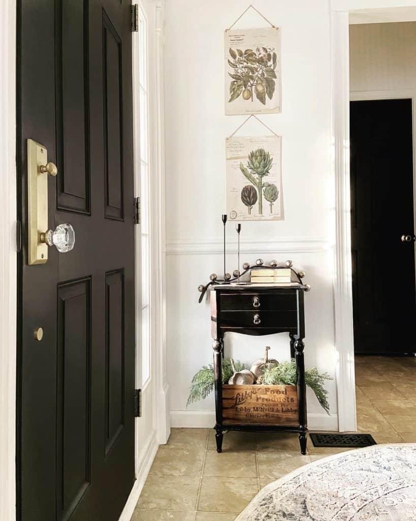 black interior doors, black doors, painting doors black